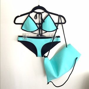 teal triangl top & bottom swim set